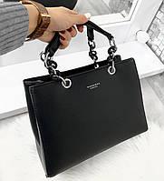 Жіноча каркасна сумка офісна ділова класична невелика екошкіра, фото 1