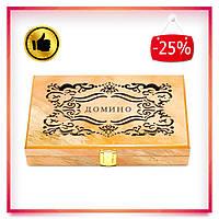Игра домино в деревянном подарочном кейсе (20х12 см)