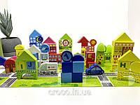 Деревянный конструктор. Развивающие строительные блоки. Город. 100 элементов + 60 карточек-пазлов