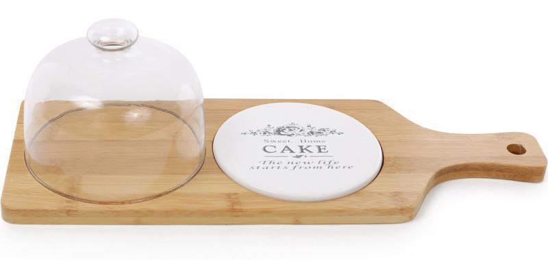 Дошка-страва Sweet Home 40х14 см..5х11.5см для подачі нарізки з ковпаком