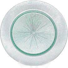 Блюдо сервировочное Mirjana Green декоративное Ø33см, подставная тарелка, стекло
