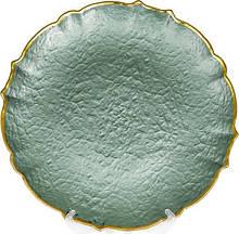 Блюдо сервировочное Emerald Paper декоративное Ø33см, подставная тарелка, стекло