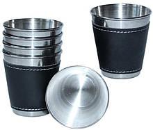 Набір 6 дорожніх сталевих стопок (чарок) Династія 70мл в чохлі