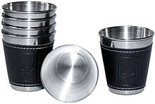 Набір 6 дорожніх сталевих стопок (чарок) Династія 50мл в чохлі