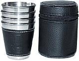 Набір 6 дорожніх сталевих стопок (чарок) Династія 50мл в чохлі, фото 2
