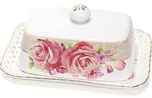 """Маслянка """"Букет троянд""""-132 17x12x6.5см, фарфорова"""