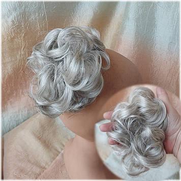 Резинка шиньон из волос серебристо-пепельный 0215V-51