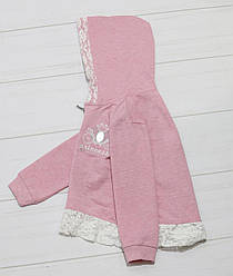 Кофта для девочки двунитка, длинный рукав, молния, капюшон, кружево, стразы рисунок  Карета,  Breeze (размер
