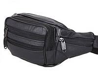 Барсетка натуральная кожа сумка на пояс поясная бананка через плечо черная, фото 1