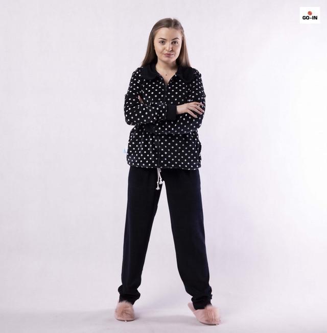 Піжами жіночі велюрові на блискавці тепла в горошок домашній костюм бордовий, чорний 48-56р.