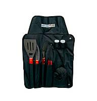 Фартук - набор для барбекю гриля 4 приборы, 60х41 см, инструменты для барбекю лопатка, щипцы, нож , вилка (ST)