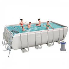 Прямоугольный каркасный бассейн Bestway 56670 Power Steel Frame Pool (488х244х122см), фото 3