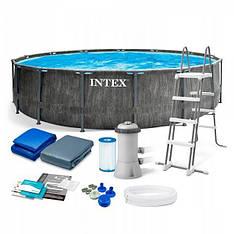 Каркасний басейн Intex 26742, 457х122см (фільтр-насос, сходи, підстилка, тент)