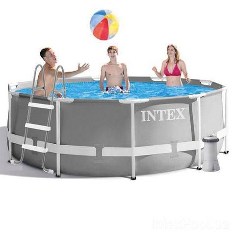 Круглий каркасний басейн Intex 26706 Metal Frame Pool (305х99 см) + насос + сходи, фото 2