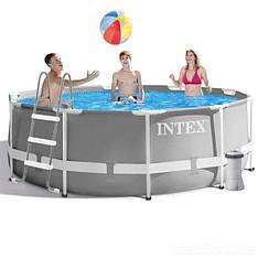 Круглий каркасний басейн Intex 26706 Metal Frame Pool (305х99 см) + насос + сходи