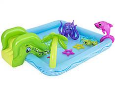 Надувний ігровий центр Bestway 53052 «Акваріум», 239 х 206 х 86 см,з гіркою, з іграшками