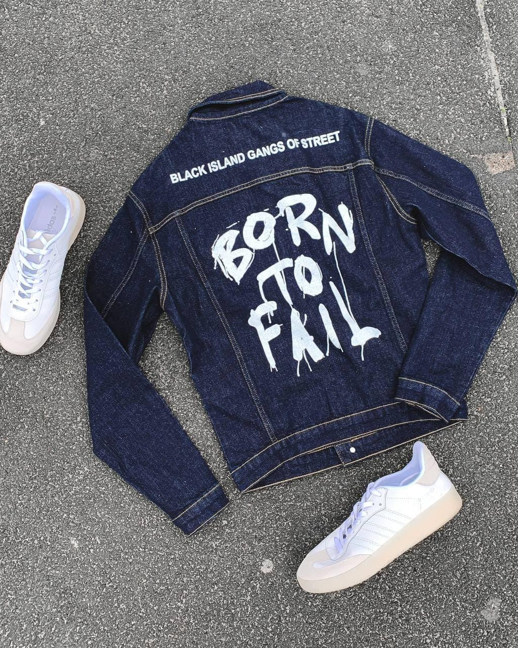 Модна джинсова куртка-піджак з принтом темно синя | Молодіжна джинсовці виробництво Туреччина