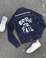 Модна джинсова куртка-піджак з принтом темно синя | Молодіжна джинсовці виробництво Туреччина, фото 1