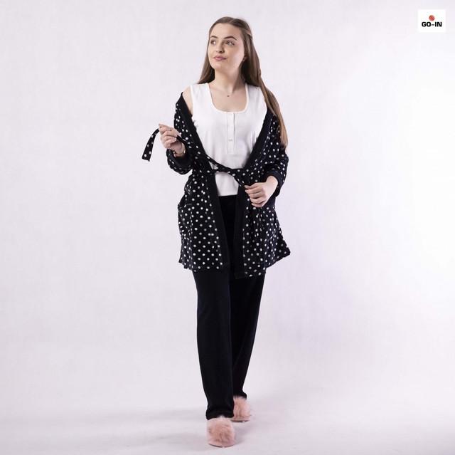 Піжама жіноча велюрова з халатом і брюками горошок чорна 42-54р.