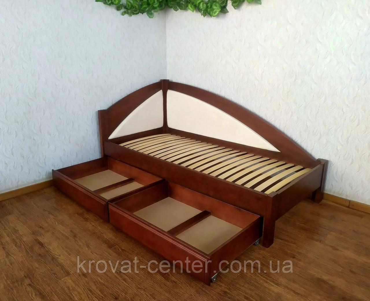 """Кровать детская угловая с мягкой спинкой и выдвижными ящиками """"Радуга Премиум"""""""