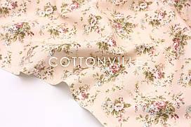 Декоративная ткань/ панама Цветы на розовом