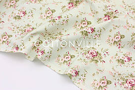 Декоративная ткань/ панама Цветы на мятном