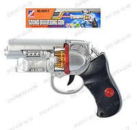 Пистолет 06918 + звук, подсветка дула и барабана, работает на батарейке, 16-12 см. Игрушечное оружие Детские