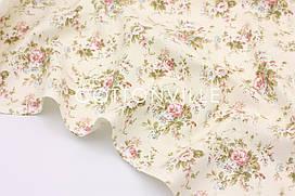 Декоративная ткань/ панама Цветы на экрю