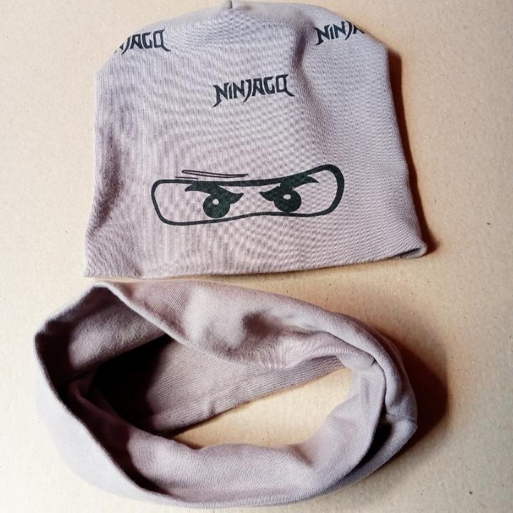 Шапочка для мальчика нинзяго с шарфиком баф