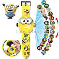 Проекционные детские часы Миньон - Minions - 24 вида изображения героев .Projector Watch.