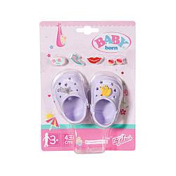 "Обувь для куклы Беби Борн - ""Праздничные сандалии со значками"" (лаванд) Baby Born, Zapf Creation 3+ (828311-4)"