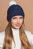 Вязаная шапка синяя