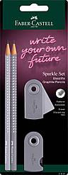 Набор Faber-Castell 2 чернографитных карандаша Grip Sparkle с точилкой и ластиком Sleeve, 218482