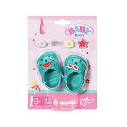"Обувь для куклы Беби Борн - ""Праздничные сандалии со значками"" (зелен) Baby Born, Zapf Creation 3+ (828311-6)"