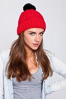 Вязаная шапка красная, фото 1