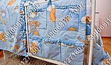 Карман органайзер 65х60 см для аксессуаров на детскую кроватку, голубые расцветки, фото 2
