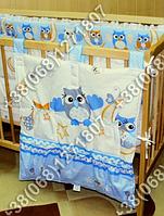 Карман органайзер 65х60 см для аксессуаров на детскую кроватку (голубые расцветки)