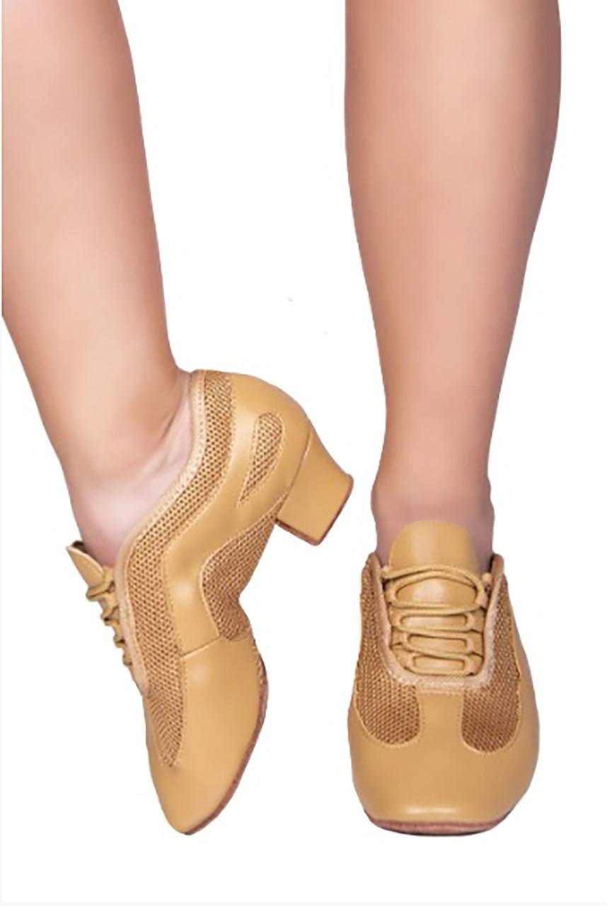 Туфли кожаные тренировочные на каблуке SASAN 7919 бежевый