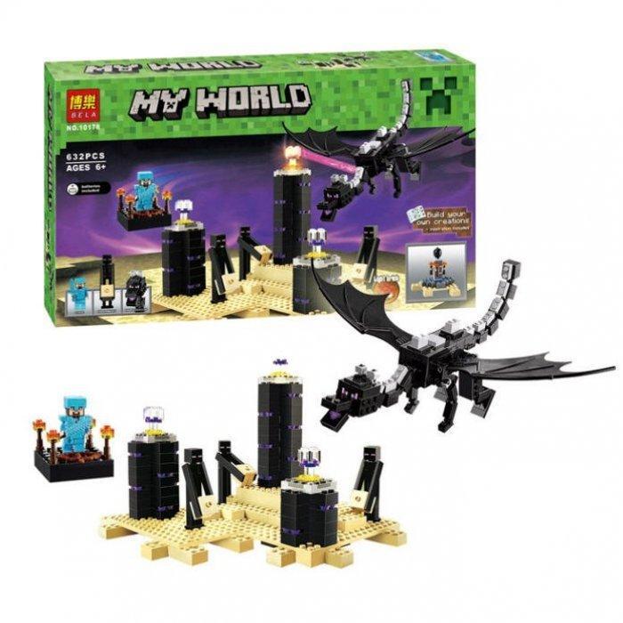 """Конструктор Bela Minecraft """"Дракон Ендер/Краю"""", 632 деталі"""