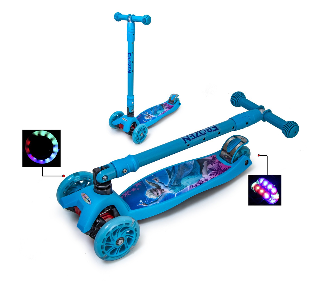 Самокат Maxi Scooter Disney Frozen з нахилом керма і складна ручка