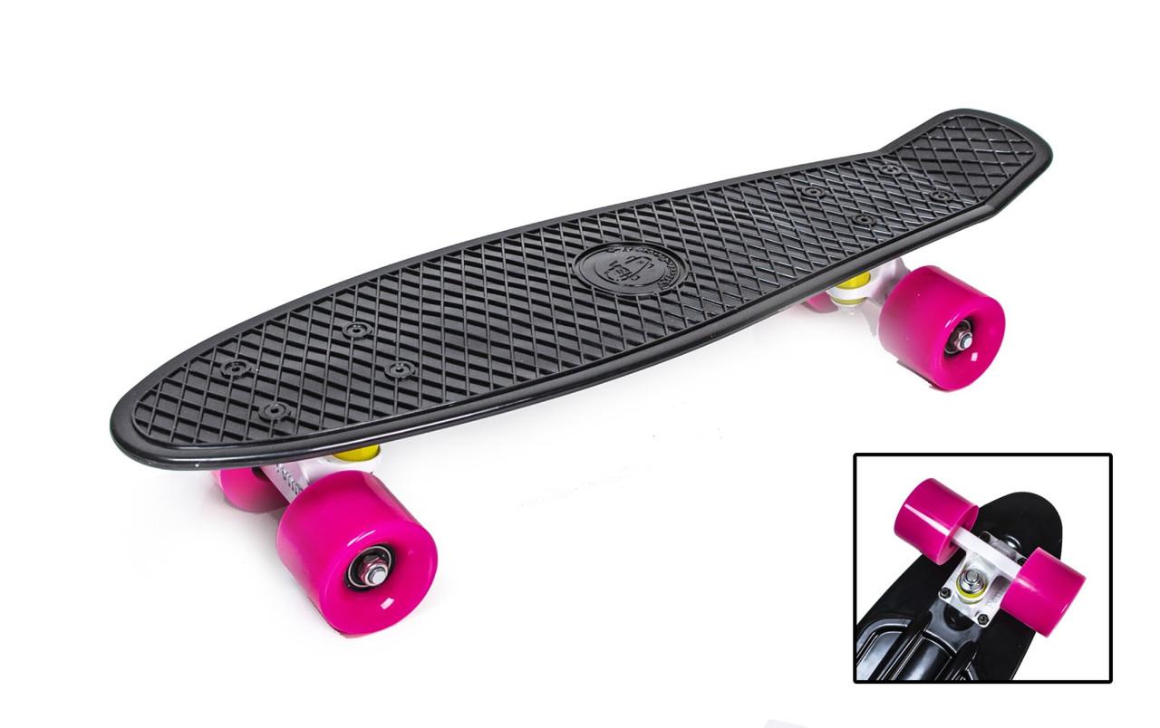 """Пенниборд, Penny Board """"Fish"""" Черный цвет. Матовые колеса"""