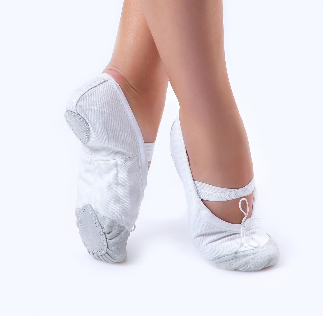 Балетки танцевальные с кожаным носком и кожаной подошвой Dance 011, белый