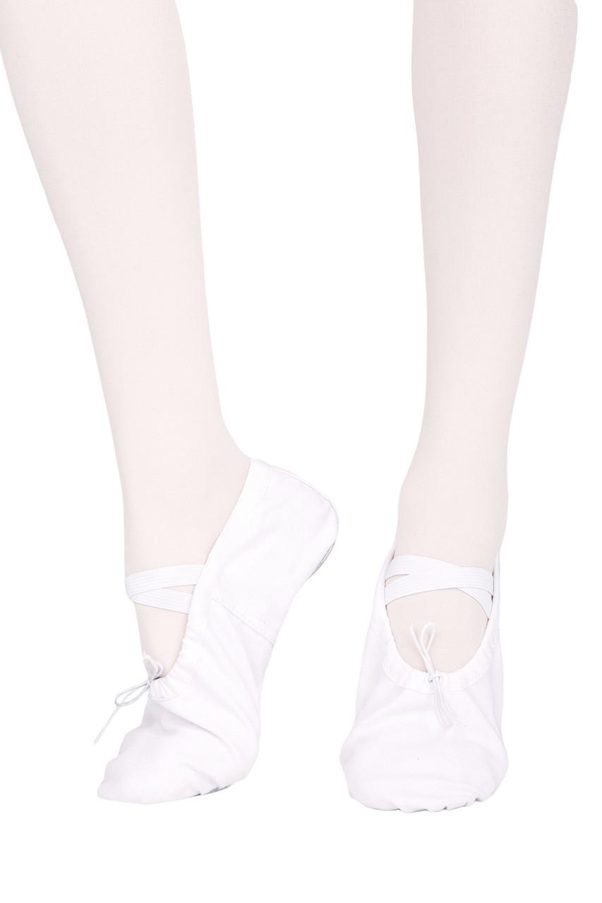 Балетки з шкіряною підошвою Dance 021 білий, кирза