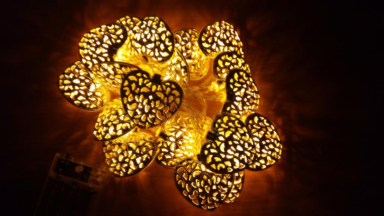 Светодиодная гирлянда сердечки 2 метра на батарейках жёлтый