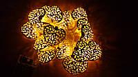 Светодиодная гирлянда сердечки 2 метра на батарейках жёлтый, фото 1