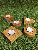 Подсвечники из дерева дуба ,круглые ,квадратные под свечку - таблетку. Ручная работа