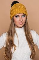 Вязаная шапка горчичная , фото 1