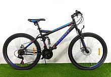 Спортивный велосипед 26 дюймов Аzimut Race d 26 дюймов черно-синий+ подарок. Горный велосипед Азимут.