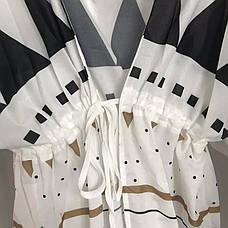 ТУНИКА Пляжная - Халат Накидка Пляжное Парео Платье, Длинная под пояс с узорами треугольники 146-17, фото 3
