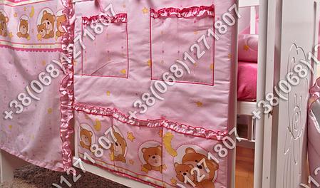 Карман органайзер 65х60 см для аксессуаров на детскую кроватку, розовые расцветки, фото 2